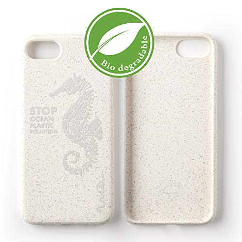 Wilma Umweltfreundliches biologisch abbaubare Handy Schutzhülle Kompatibel mit iPhone 6 / 6S / 7/8, Stop Meeres Plastik Verschmutzung, Kunststoff-frei, Vollschutz Hülle - Matt Seepferdchen