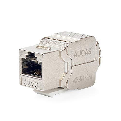 Cat7 RJ45 FTP Tool-Less Type Zinc Alloy Module Shielded Keystone Jack Adapter 10 Gigabit Modular Jack (5 PCS/Pack)