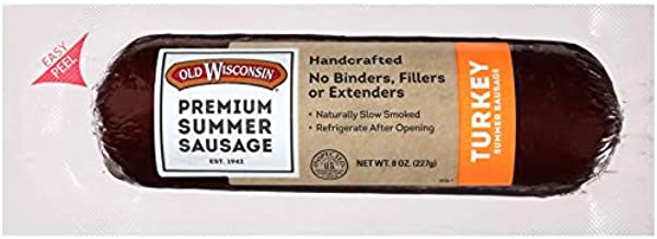 Old Wisconsin Premium Summer Sausage, 100% Natural Meat, Charcuterie, Ready to Eat, High Protein, Low Carb, Keto, Gluten Free, Turkey Flavor, 8 Ounce