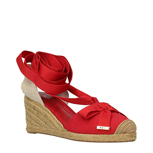 Lauren by Ralph Lauren Hohlend rote Leinwand Keile Espadrilles 39 Red Fabric