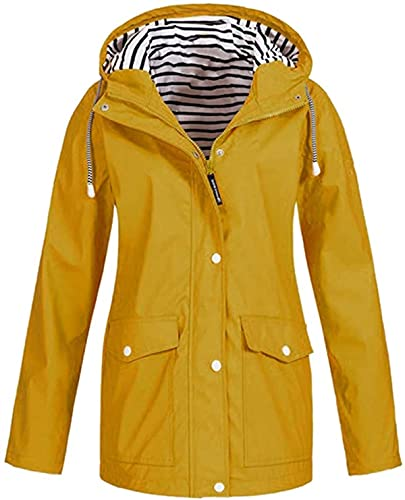 XIUSHANG Women's Rain Jacket Lightweight Packable Outdoor Coat Windproof Hoodies Drawstring Button Pokets