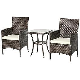Ensemble Salon de Jardin 2 Places : 2 fauteuils et Table Basse Plateau Verre trempé résine tressée Imitation rotin…