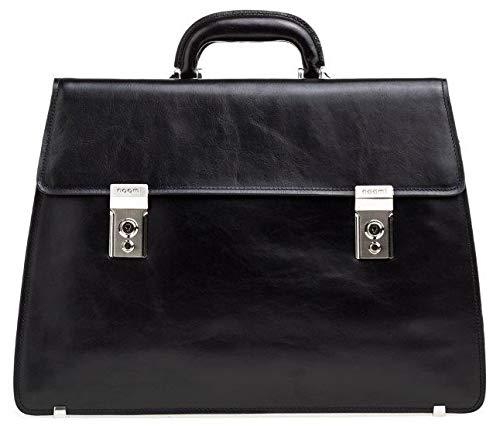 Noomi Kate Bag Professionelle Tasche aus echtem Leder, 44 cm, Schulranzen, 1547PPINE, Schwarz, 1547PPINE