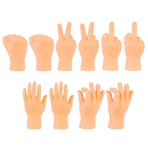 Qingsi - Juego de 10 minsculas manos de dedo para juegos, fiesta, disfraz de marionetas