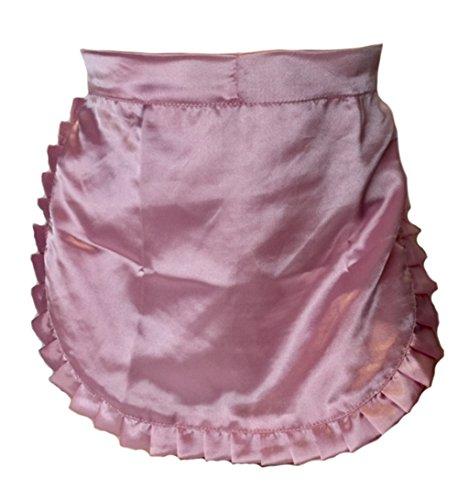 Tablier blanc vintage rétro à demi-taille style années 50 - Rose - Taille Unique