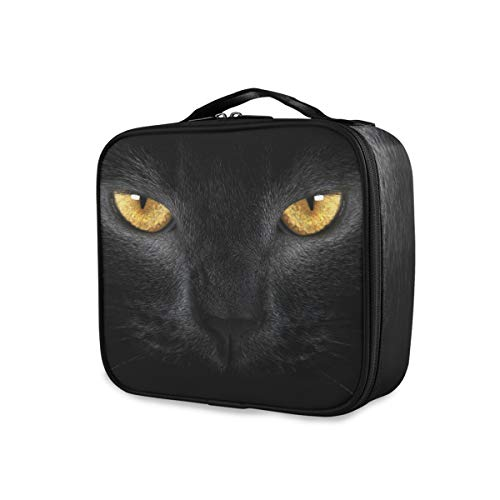 Black Cat Yellow Eye Tools Cosmetic Train Case Portable Travel Ladies Storage Makeup Bag Toiletry Pouch