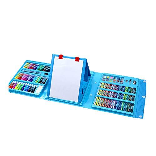 LKIUGD 208-teiliges doppelseitiges Trifold-Staffelei-Kunstset für Kinder zum Zeichnen, Skizzieren und Zeichnen,Blau