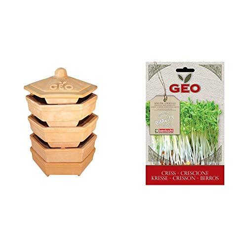 Geo TZZ0933 Terradisiena Germogliatore In Terracotta & Crescione Semi da Germoglio, Marrone, 12.7x0.7x20 cm