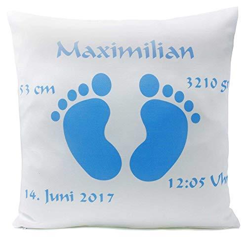 Kissen mit Namen Geburt Babyfüße Junge hellblau 40x40 cm inkl. Füllung Geburtskissen Taufkissen, Kissen Farbe:Vorderseite weiß/RS hellblau