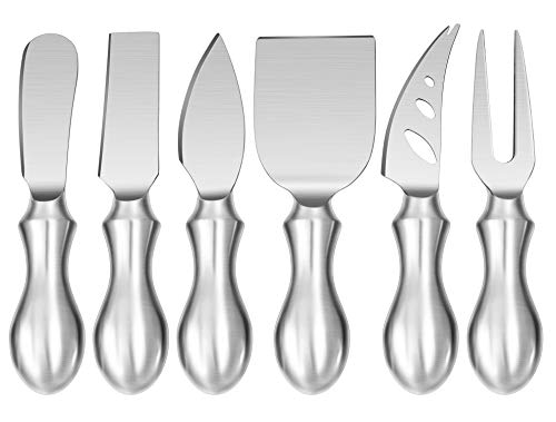 WoneNice Premium 6-Piece Cheese Knife Set - Complete Stainless Steel Cheese Knives Collection for All Types Cheese