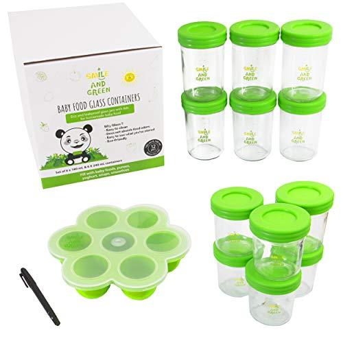 Babybrei einfrieren mit 12 Glasbehältern | wiederverwendbare und luftdichte Behälter zur Babybrei Aufbewahrung | umweltfreundlich und abfallfrei | leicht zu befüllen und reinigen