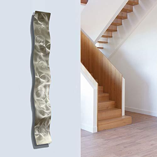 """Jon Allen Metal Art - Statements2000 Silver 3D Abstract Metal Wall Art Sculpture Wave - Modern Home DÃcor by Jon Allen - 46.5"""" x 6"""""""