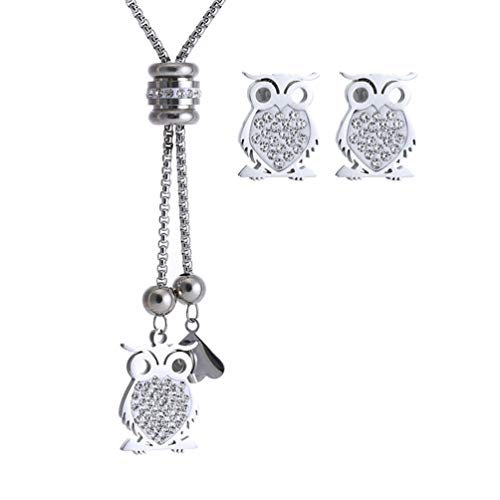 SAKAIPA 316L Stainless Steel Owl Plum Butterfly Pendant Necklace Set Zircon Adjustable Sweater Chain (Owl necklace set silver 1)