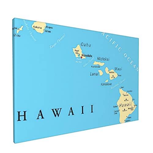 PATINISA Cuadro en Lienzo,Mapa de las islas de Hawái con capital Honolulu,fronteras,ciudades importantes y volcanes,Impresión Artística Imagen Gráfica Decoracion de Pared