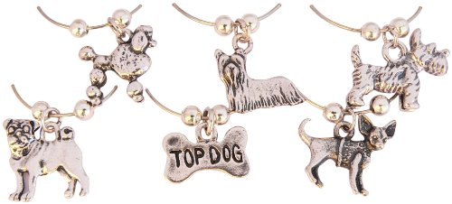 Top Dog Wine Glass Charms with Yorkie, Westie, Pug and Poodle