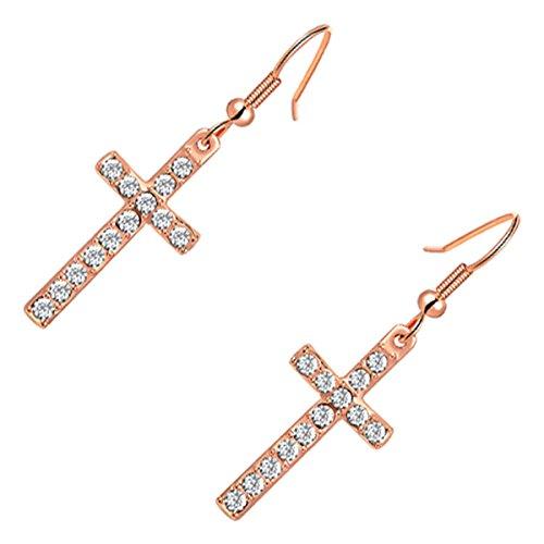 GWG Jewellery Orecchini Donna Regalo Orecchini Pendenti Placcati Oro Rosa 18K Croci Ornate con Pietre Colore Bianco Diamante per Donne