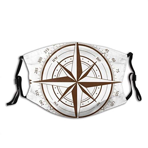 Decoración Facial Face Cover Mouth Cover Map Brown Compasses Rose White Nautical Old Wind Star Latitude Longitude World Balaclava