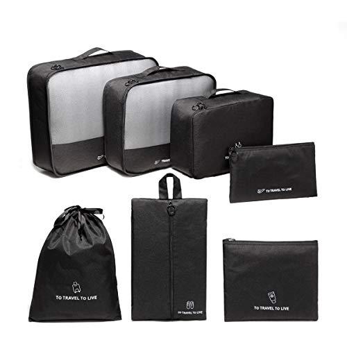 VASCHY Packing Cubes, 7-Piece Suitcase Organiser Set, Clothes Bags, Cosmetics, Shoe Bags, Travel Organiser, Bag, Lightweight Storage Set, black (Black) - VAUKBP0106BA