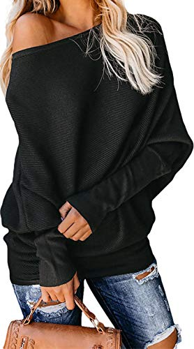 Exlura Women's Off Shoulder Batwing Sleeve Ribbed Shirt Loose Pullover Tops Black