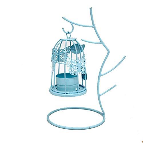 MoGist Candeleros CandelabrosTwig candelabro de Hierro Forjado 1 PCS Azul tamaño 20 * 13.5cm Material de Hierro