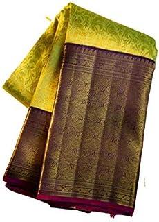 Dhrumil tex Women's Banarasi Silk Saree With Blouse Piece (1051- PARROT & PURPLE)