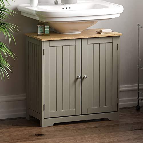Bath Vida Priano Waschbeckenunterschrank, freistehend, Aufbewahrungsschrank, Waschbecken, grau, Grey Under Sink Bathroom Cabinet