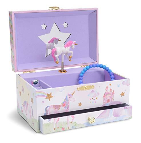 Jewelkeeper - Caja Musical para Joyas para Niñas, con Unicornio Arco Iris y Estrellas de Lentejuelas, con Cajón Extraíble - Melodía The Unicorn