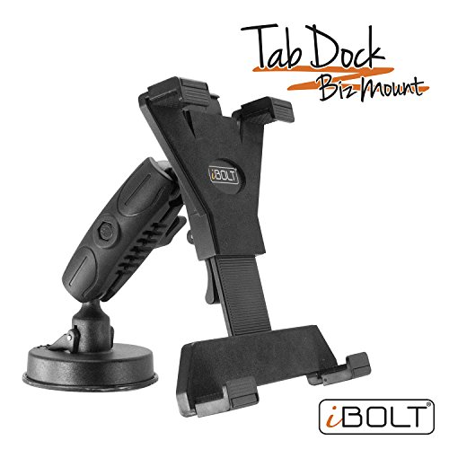 iBOLT Tabdock BizMount -Holder /Mount with Suction Cup Base- for Your Windshield , Dashboard , or Desk - Compatible with All 7'-10' Tablets: iPad, Samsung Galaxy Tab, Google Nexus
