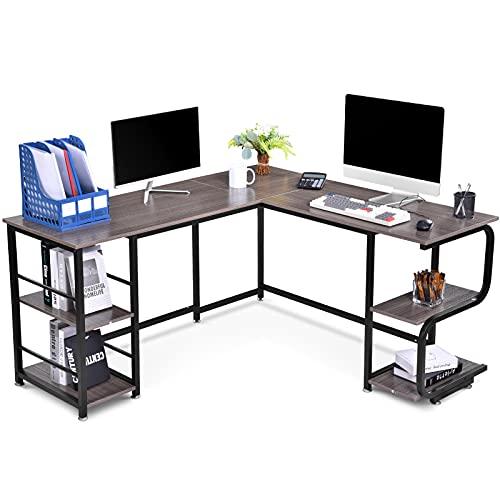 Scrivania angolare a forma di L, scrivania per computer in L, scrivania per computer in ufficio, per computer da gaming, postazione di lavoro, per casa e ufficio, 150 x 120 x 74 cm, colore: grigio.