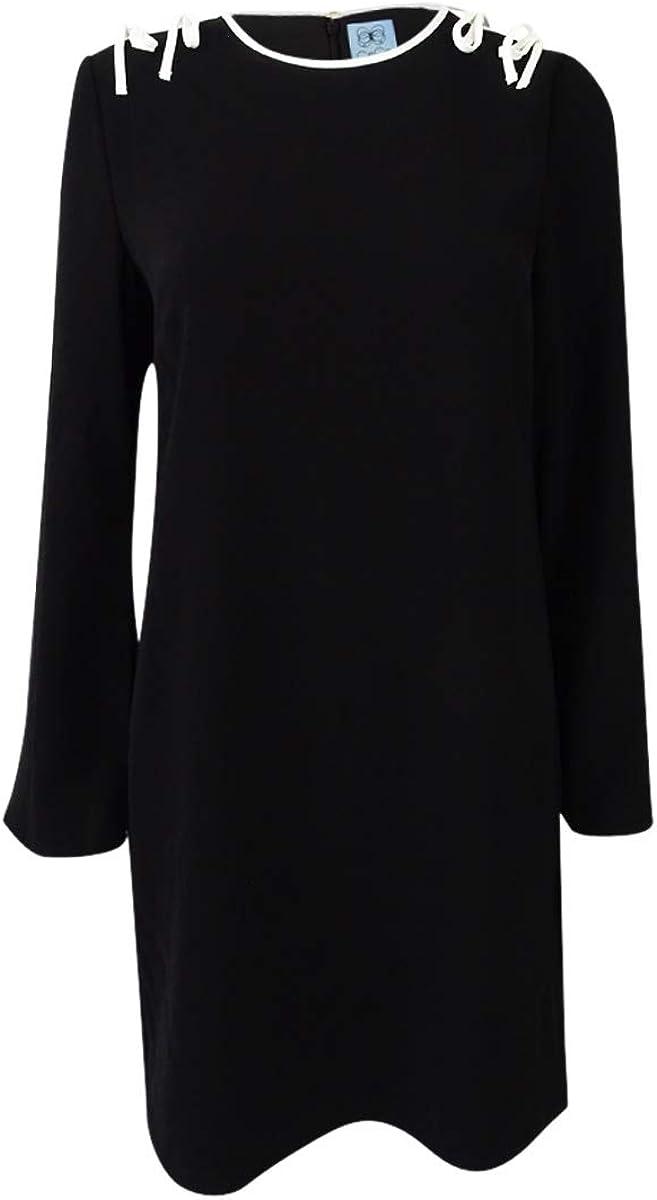 CeCe Women's Moss Tie Shoulder Bell Sleeve Shift Dress (0, Black)
