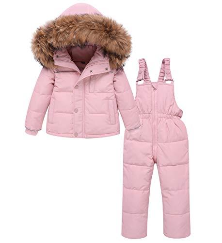 Zoerea Tuta da Sci per Bambino Unisex Set Tute Completo da Neve 2 Pezzi Snowsuit Caldo Invernale Giacca Cappotto con Cappuccio (Stile 2 Rosa, 90)