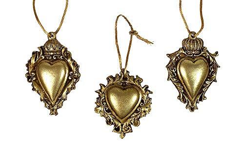 Christbaumschmuck Herz mit Krone Gold 3 Stück Barock Antik-Stil Weihnachten