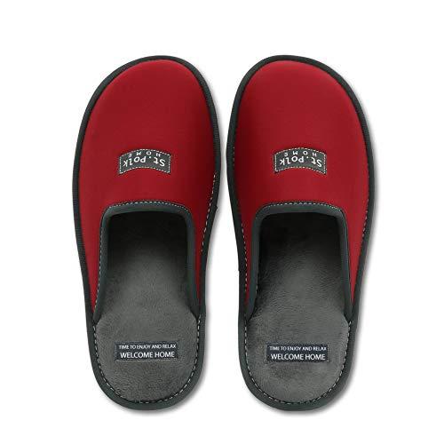 Zapatillas de Estar por casa Hombre/Mujer. Slippers para Verano e Invierno/Pantuflas cómodas, Resistentes, Transpirables y de Interior Suave. Suela de Goma Antideslizante (44 EU, Granate)