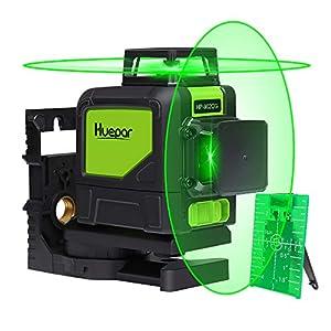 Huepar 902CG Nivel Láser 2X360 Verde 40m, MODO DE PULSO, 2X 360 Líneas Cruzadas Autonivelante, Conmutables 360 Grados Líneas Verticale/360 Grados Línea Horizontale, con 360° Base Giratoria Magnético