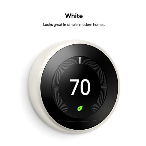Google Nest Programmable Learning Smart Thermostat – 3rd Generation – Works with Alexa
