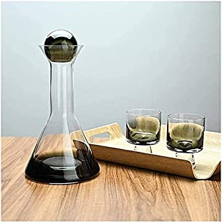 Decanter Set Whiskey Decanter Wine Decanter Wine Decanter, Smokey Gradient Crystal Glass Red Wine Carafe With 2 Creative G...