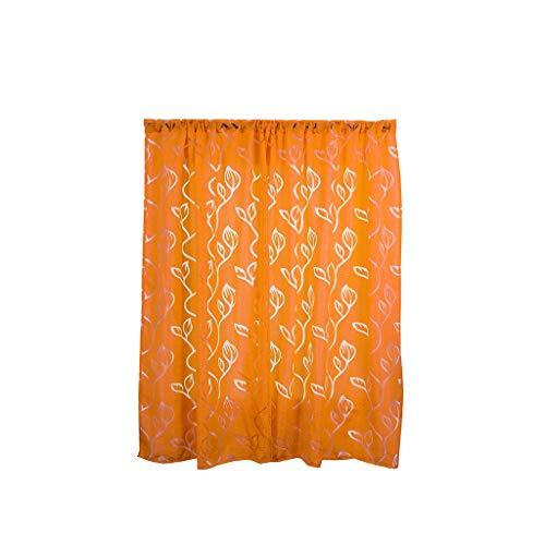 Xmiral Türvorhang Gardine Aushöhlen Durchscheinend Einfarbig scheibengardine Thermovorhang mit Stangenloch 2er pro Pack(Orange,100 x 130 cm)