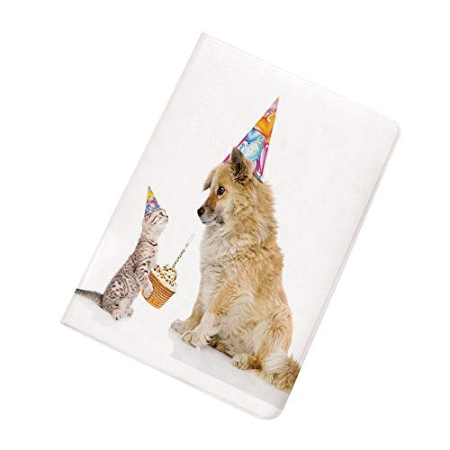 Birthday Decorations for Kids iPad Mini 5 Case 2019 5th Generation iPad Mini,Cat and Dog Human Best Friend Party with Cupcake and Candle Slim Stand Protective Case Smart Cover for 2019 Apple iPad Mini