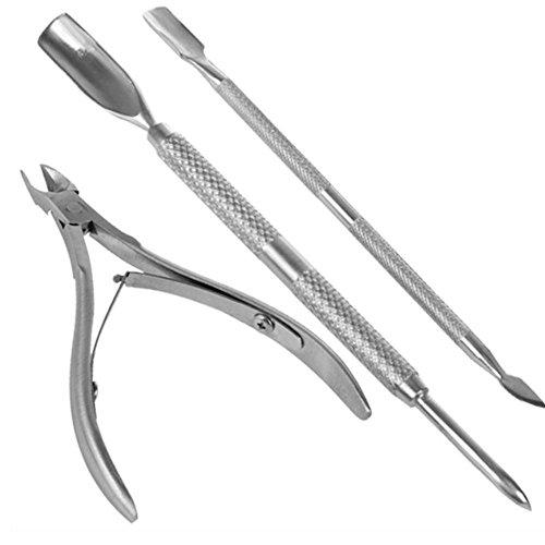 La cutícula del clavo empujador de la cuchara removedor de uñas Cortar la herramienta de pedicura manicura, uñas de bolsillo cutículas paquete contiene corta uñas, paquete de 3