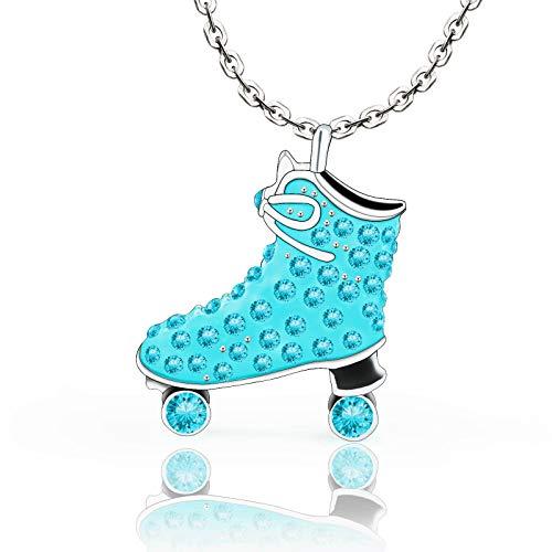 VU100 Patinaje sobre Hielo Collar De Cristal Azul para Niñas Adolescentes Mujeres Patinaje Colgante Skater Collar Joyería Regalos