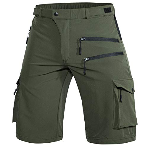 Wespornow Men's-Hiking-Shorts Lightweight-Quick-Dry-Outdoor-Cargo-Casual-Shorts for Hiking (Green, Medium)
