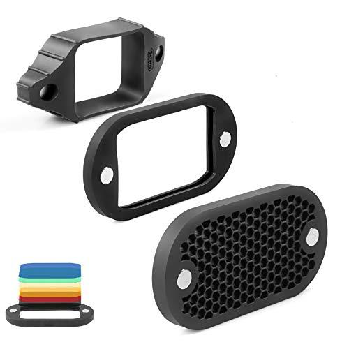 Selens 2 in 1 Wabengitter und Gel Filter Farbfolien Kit Silikon Universal Blitz Basic Kit Lichtformer mit Magnetic Stapelbaren System für Auf-Kamera Blitz...