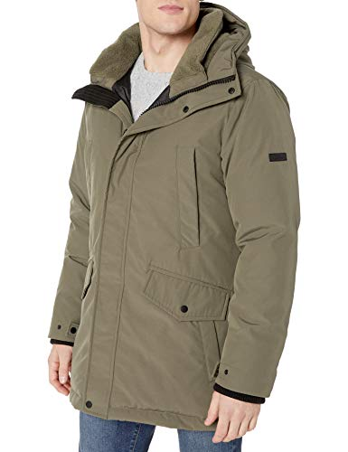 Vince Camuto Men's Bomber Jacket with Faux-Fur Trimmed Hood, Taupe, Large