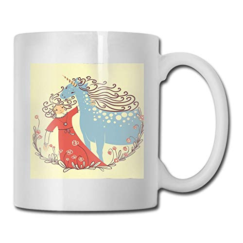 Niedlicher Prinz Girl mit Unicorn Funny Ceramic Coffee Mug