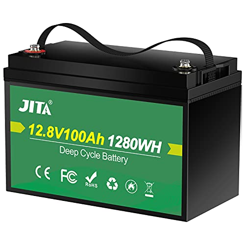 JITA LiFePO4 Lithium-Batterie, 12 V, 100 Ah, integrierter 100 A BMS, 2000–5000 Zyklen, 10 Jahre Lebensdauer, unterstützt 1280 W Ausgangsleistung, für Wohnmobil, Solarantrieb, Marine, Lagerung und Outdoor-Camping