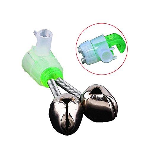 ShuGuan 20 Unidades de Alarma de caña de Pescar con Doble Cascabel de Alarma, Color Verde y Plateado (no se Cae la Llama)