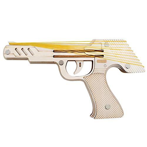 HoneybeeLY Spielzeug-Vorlagen für Feuerwaffen aus Gummi 3D Holz – Simulation Bullet Rubber Band Launcher – Bausatz zum Basteln für Holzbauer, mechanisches Spielzeug aus Holz
