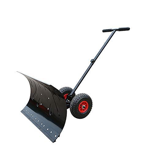 Rolling Snow Pusher Shovel, Heavy-Duty Rolling Einstellbare Schneeschieber Mit 6