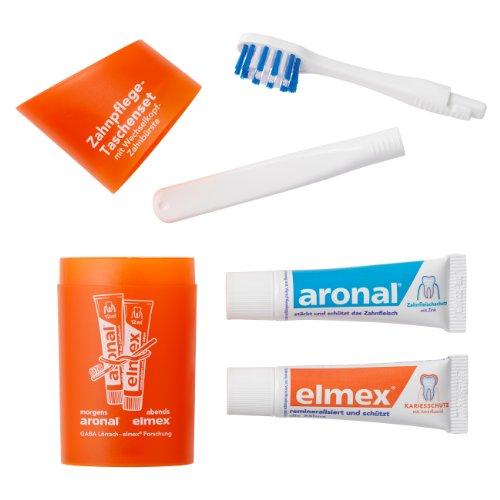 Elmex Zahnpflege-Taschenset (Reise-Zahnbürste und Zahnpasta) orange 1 Stück