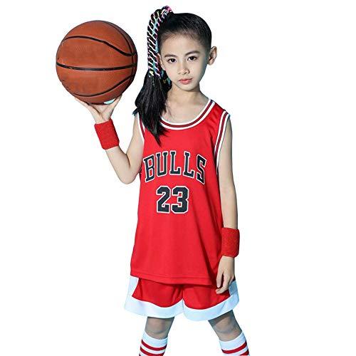 Jordrn # 23 Bulls Basketball Trikot für Jungen Mädchen, Top und Shorts 2-teiliges Set Bestickte Weste Training Unisex Jugend Ärmellose Sport Kinder-red-XXXS